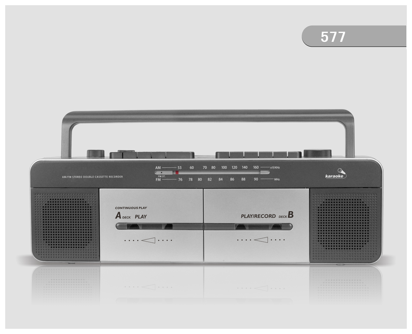 577k AM /FM RADIO DOUBLE CASSETTE RECORDER